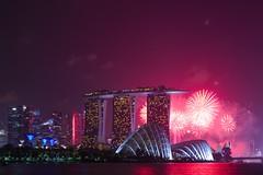 SG50 rehearsal firework at Marina Bay Singapore