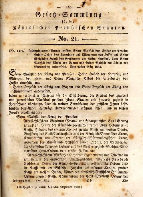 Publication of Zollverein treaties in Preußisches Gesetzblatt