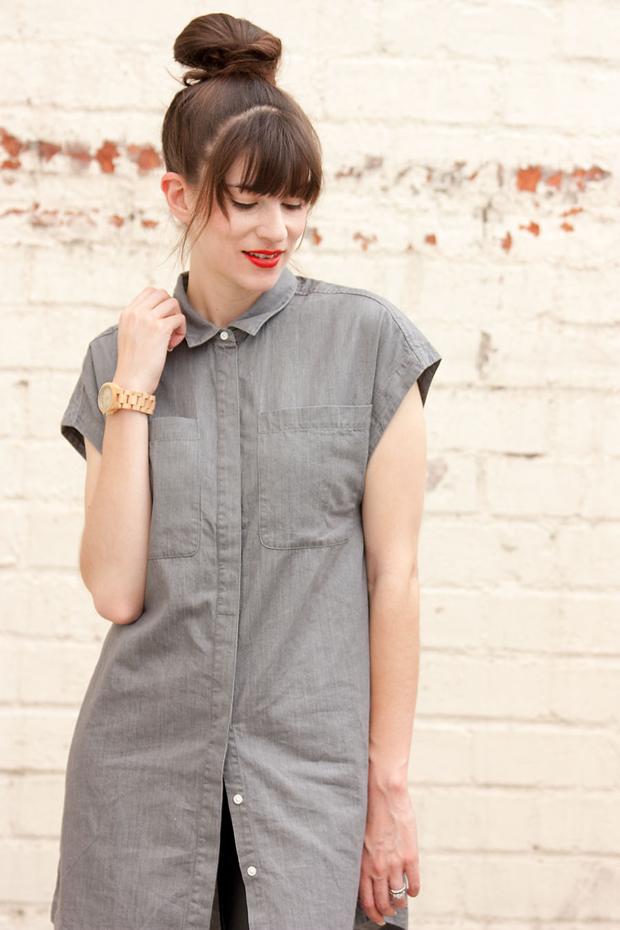 Everlane Shirtdress, Jord Watch, Minimalist Style