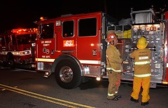 LAFD & LACoFD Battle Flames at Former L.A. County Fire Camp