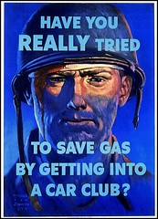 Have you really tried to save gas by getting into a car club?  (poster by Harold Von Schmidt, US Office of Price Administration. 1944)