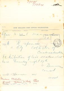 Telegram to Auckland Customs regarding Snake Charmer Cleopatra (1909)