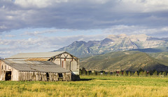 Old Farm and Cloudy over Mount Timpanogos