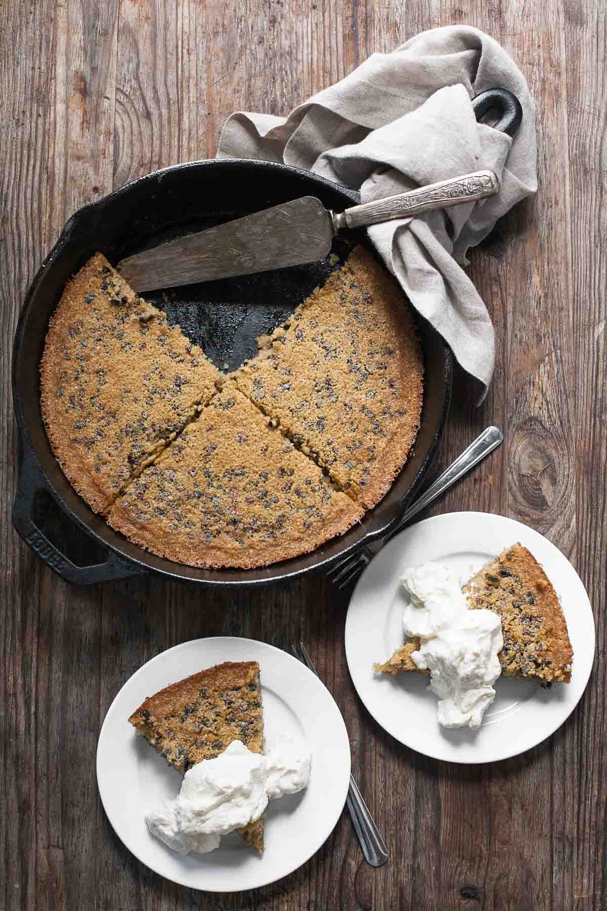 Brown Butter Cacao Nib Skillet Cake
