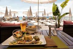 Fish dish in a beach restaurant