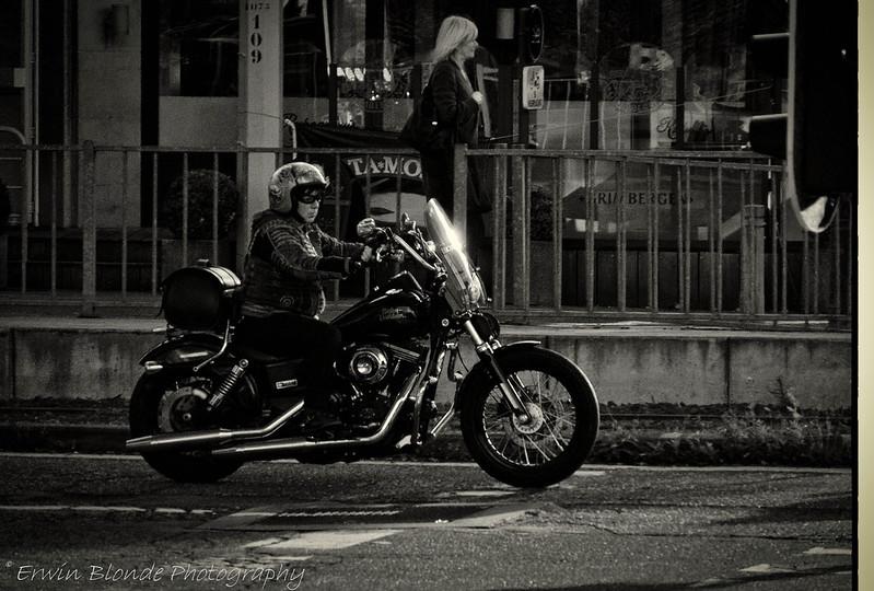 'Female Biker on a Harley',  Sony camera,  DSC00073.