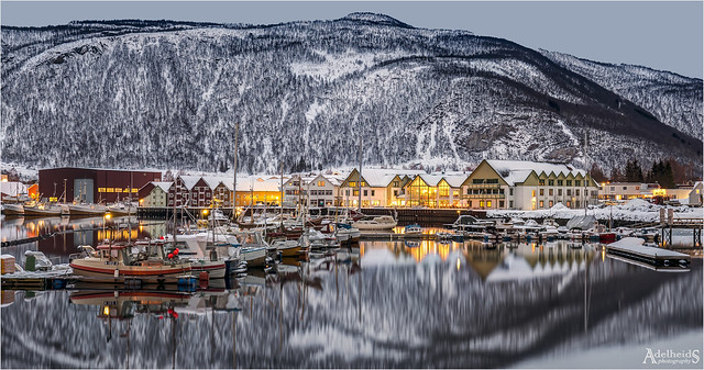 Winter evening in Rognan, Norway (explored)