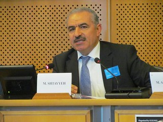 Palestinian minister Mohammad Shtayyeh addressing the hearing in Brussels.