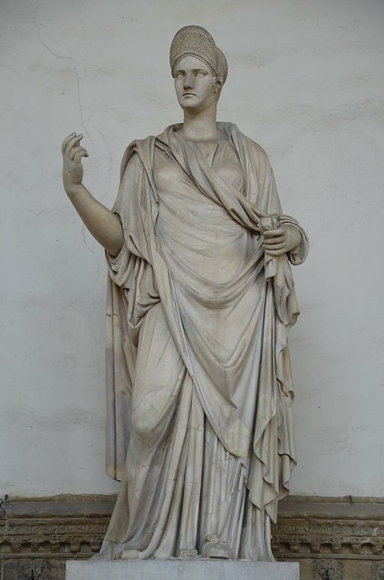 Female statue with a portrait of Matidia, 110-120 AD with modern restorations, Loggia dei Lanzi, Florence