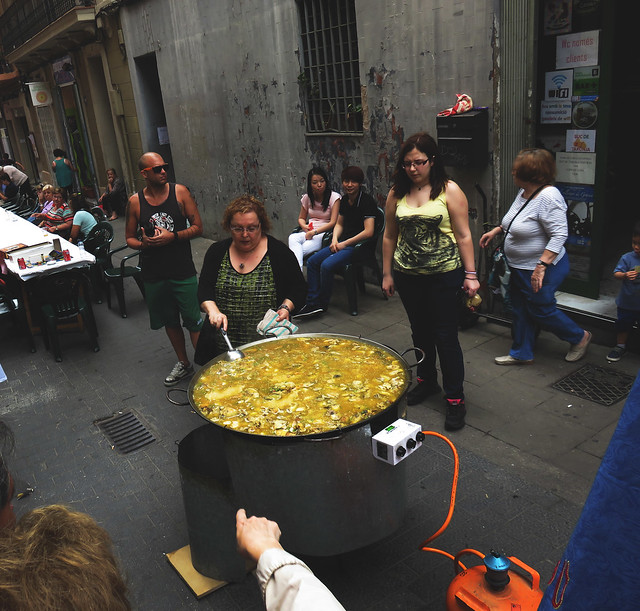 big pot of caldo in the street, Barcelona (2015)