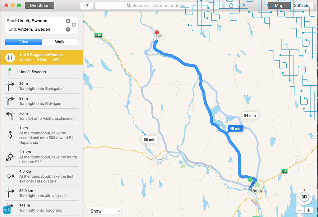 Mapa Umeå-Vindeln