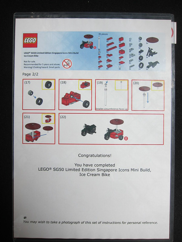 LEGO SG50 Limited Edition Singapore Icons Mini Build - Ice Cream Bike - Instructions - 2 of 2