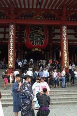 Mostly foreign tourists. Asakusa Tokyo, 04 Jul 2015