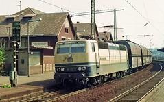 181.212 'LUXEMBOURG' passing Voelklingen with coal hoppers.10/04/1991