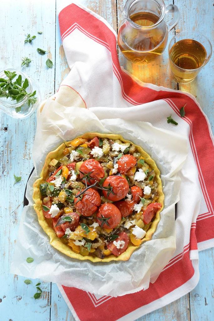 torta salata con verdure in agrodolce