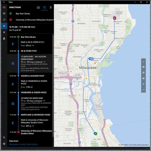 Windows 10 Microsoft Maps App Route Details