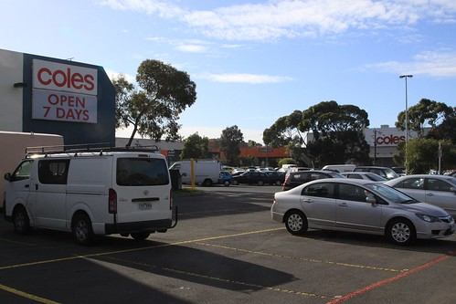 Two Coles supermarkets next door to each other in Coburg, Victoria