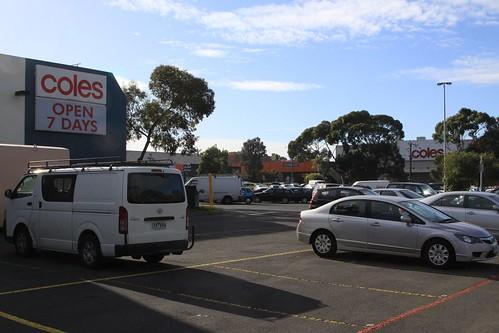 Two Coles supermarkets next door to each other in Coburg, Victoria
