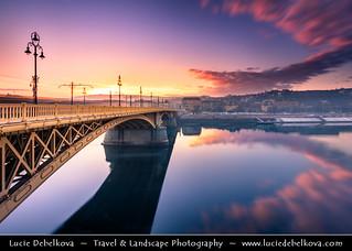 Hungary - Budapest - Margit Híd - Margaret Bridge at Very Misty Dusk - Twilight - Blue Hour - Night