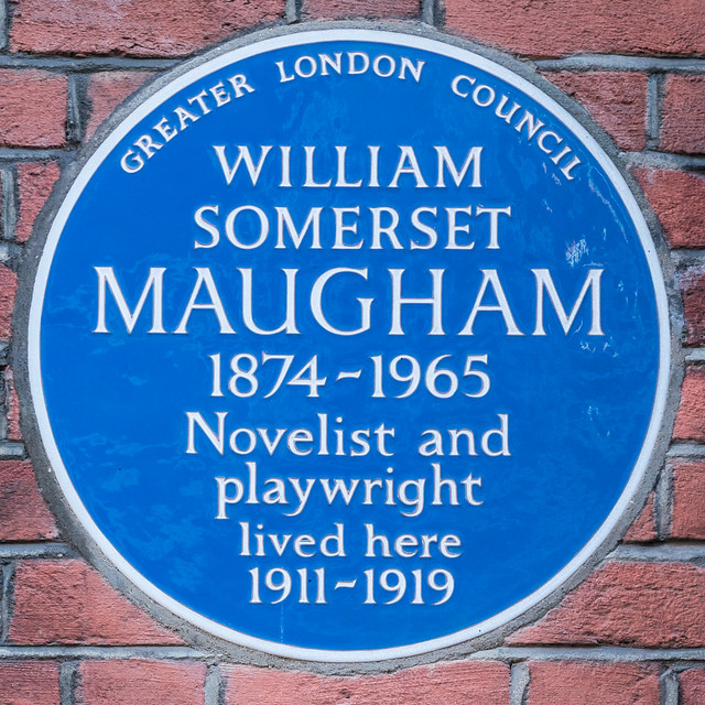W. Somerset Maugham blue plaque - William Somerset Maugham 1874-1965 novelist and playwright lived here 1911-1919