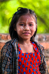 Young Myanmar Postcards seller girl