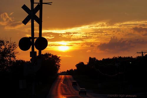 road railroad sunset summer sun sunlight silhouette golden evening dusk tones crossingsign thegalaxy