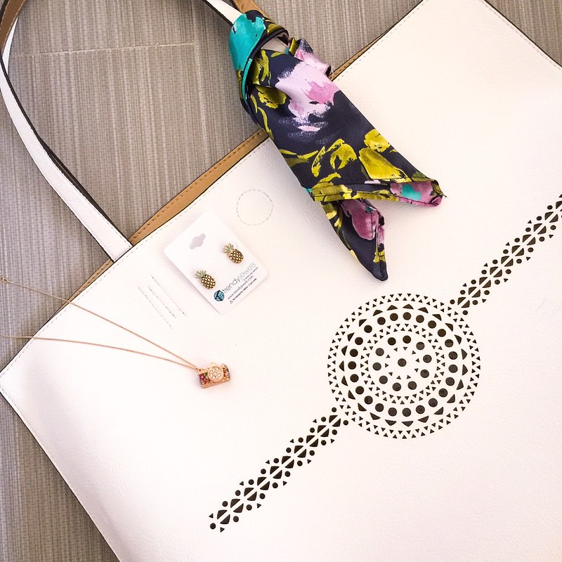 cute & little blog   petite fashion   target white tote, camera pendant necklace, pineapple earrings   summer accessories