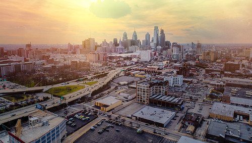 dji drone p4p aerial cityscape philadelphia philly phantom4pro phantom4proplus light sun sunset goldenhour urban cityhall buildings skyscrapers highway road leadinglines sunshine sunglare