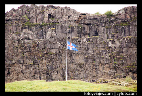 Icelandic flag in Thingvellir
