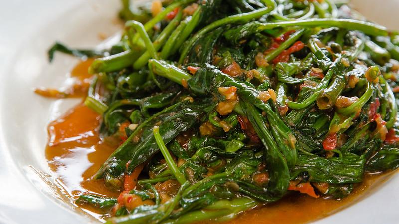 Belacan kangkung at Restaurant Light House Seafood at Matang, Taiping