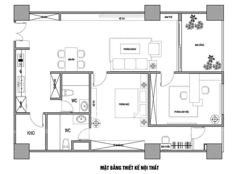 Thiết kế nội thất chung cư Mipec Anh Sơn Hà Nội_11
