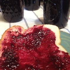 Someone made me scrape the pot for a taste. #homemade #jam #blueberry #raspberry #doubleberry