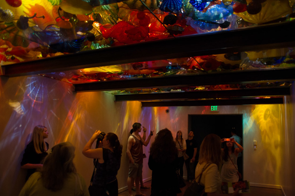 Glass ceiling exhibit at Chihuly museum in Seattle