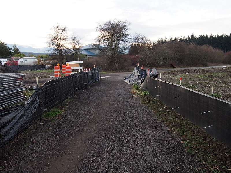 Olympic Discovery Trail Work: A bit of gravel because of sewer work nearby.