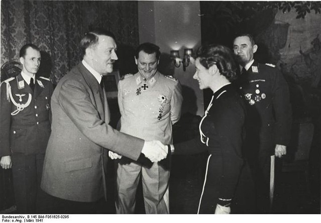 Adolf Hitler awards Hanna Reitsch the Iron Cross 2nd Class in March 1941. Credit: Bundesarchiv, B 145 Bild-F051625-0295.