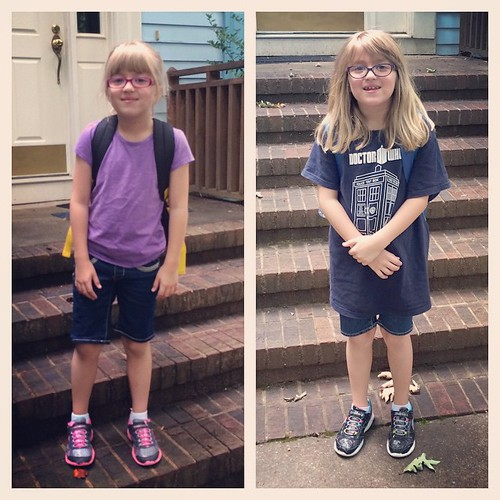 Last day of 1st grade vs last day of 2nd grade. She's grown so much this year, and Catie is now a 3rd grader!