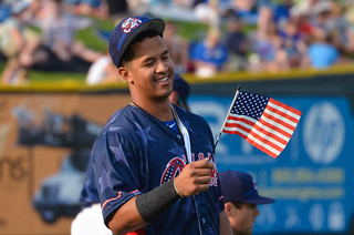 Cheslor Cuthbert checking out a flag