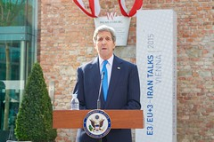 U.S. Secretary of State John Kerry, during a break in the Iranian nuclear negotiations in Vienna, Austria, on July 1, 2015, delivers a statement to the international media after President Obama and Vice President Joe Biden announced plans to re-open a U.S. Embassy in Cuba, and to have Secretary Kerry visit Havana later this summer. [State Department photo/ Public Domain]