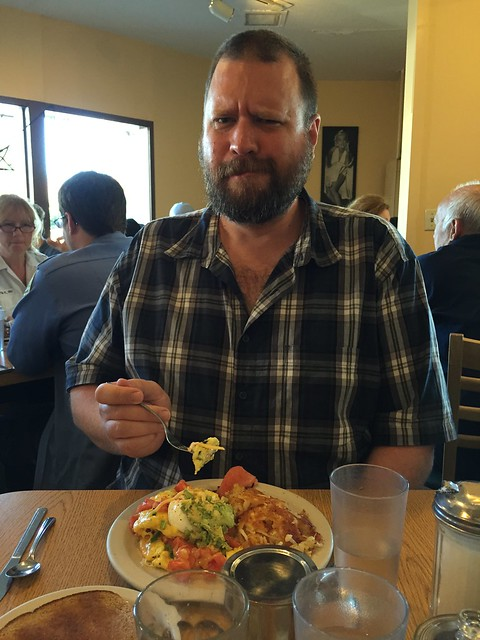 Eric and breakfast at Flo's