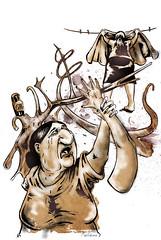 """ilustración para """"irse"""" texto de Gala Amarilla publicado en El coran y el termotanque"""