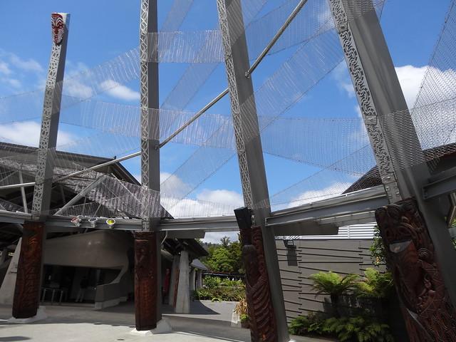 Rotorua volcanic geyser area.   Entrance to Whakarewarewa maori Park and volcanic area in Rotorua.