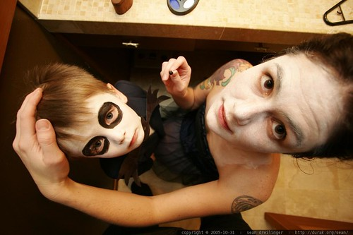 jack skellington and the corpse bride apply their halloween costume makeup