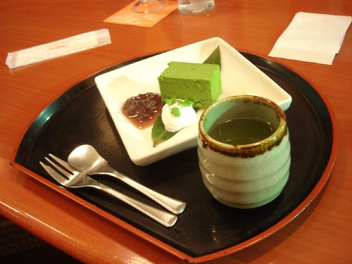 Green bavarian cream at tea