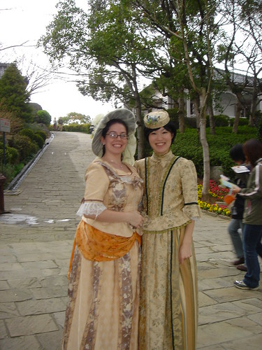 Ayako and I standing in the old timey costumes