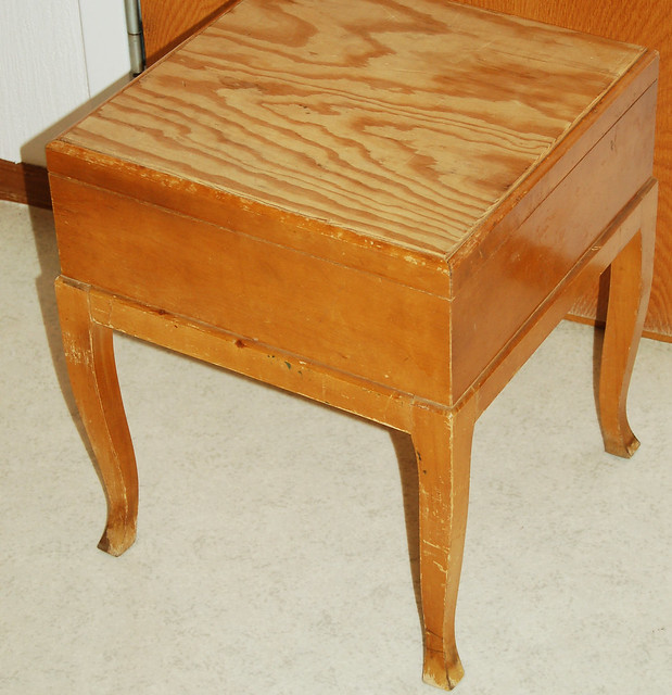 Sewing box stool that I thrifted and did this with: