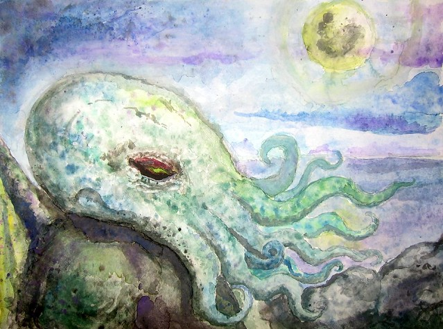 Cthulhu one of my first watercolor paintings by for My first watercolor painting