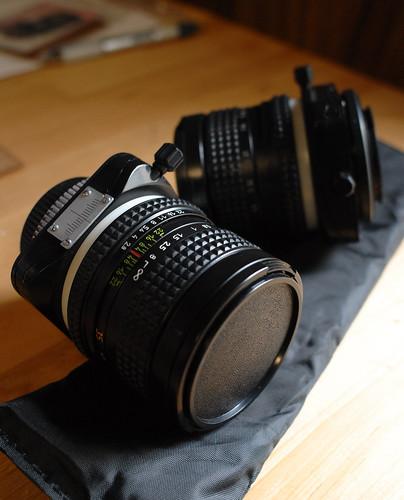 Camera lenses on display