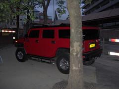 military vehicle(0.0), off-roading(0.0), automobile(1.0), automotive exterior(1.0), sport utility vehicle(1.0), vehicle(1.0), hummer h1(1.0), hummer h2(1.0), off-road vehicle(1.0), bumper(1.0), land vehicle(1.0),