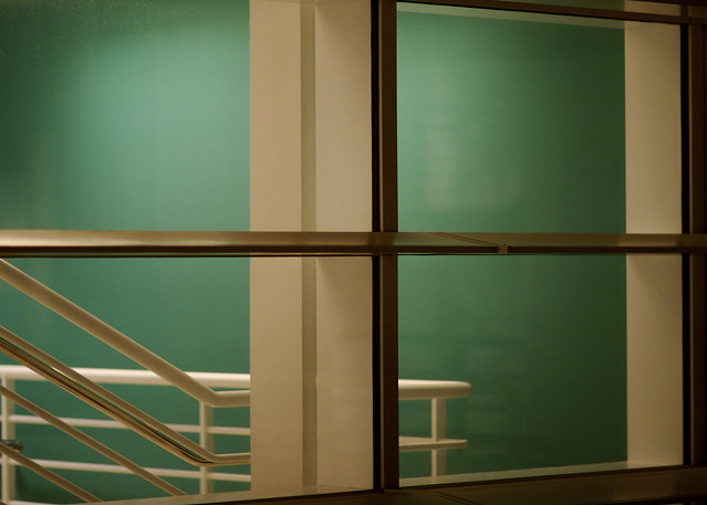 Green stairwell wall