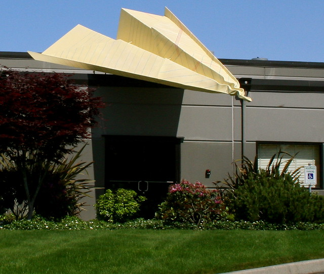 Giant Paper Airplane on Roof